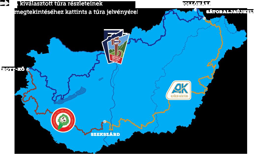 Map of the Blue Trail, source: kektura.hu