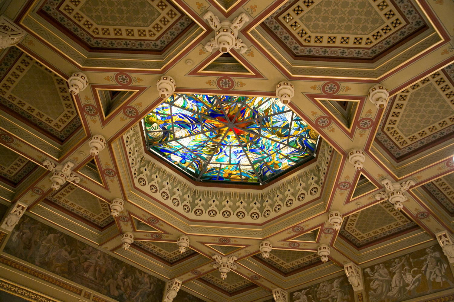 Ceiling of Vigado with a decorative window