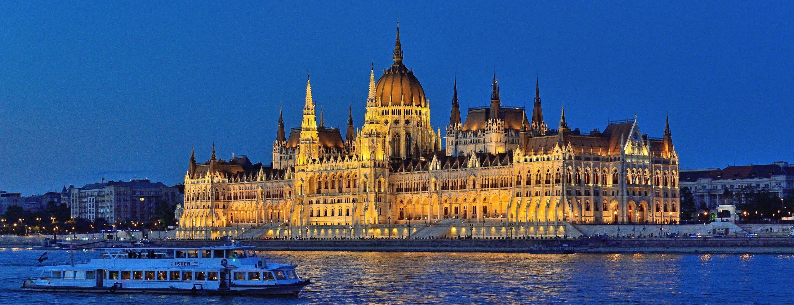 budapest parliament from danube by night Panorama Small