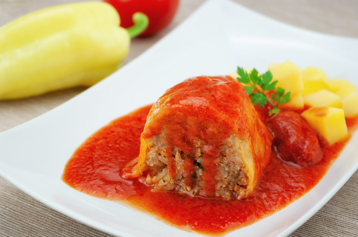 Hungarian Stuffed pepper with rice meat tomato sauce